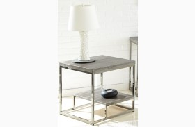 Lucia Black Nickel End Table