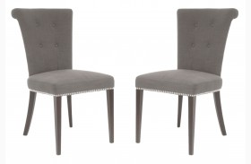 Luxe Espresso Sepia Fabric Dining Chair Set of 2