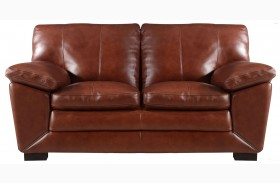Maeser Pecan Leather Loveseat