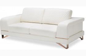 Mia Bella Bianca White Rosegold Leather Standard Sofa