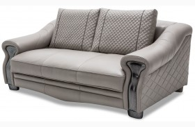 Mia Bella Light Gray Leather Loveseat