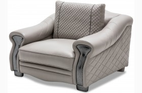 Mia Bella Light Gray Leather Chair and A Half