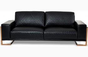 Mia Bella Black Leather Standard Sofa