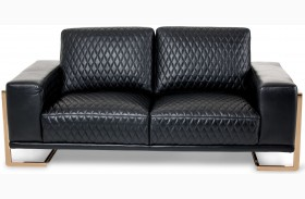 Mia Bella Black Leather Loveseat