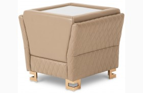 Mia Bella Taupe Leather End Table