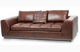 Mia Bella Dark Espresso Rosato Leather Sofa