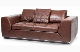 Mia Bella Dark Espresso Rosato Leather Loveseat