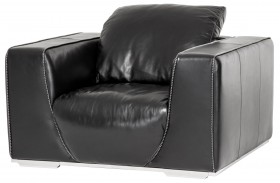 Mia Bella Onyx Leather Chair and A Half