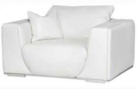 Mia Bella Sophi White Leather Chair and A Half