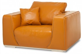 Mia Bella Tangerine Leather Chair and A Half