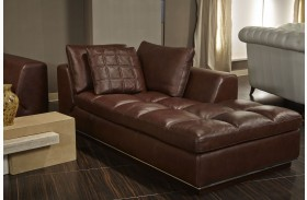 Mia Bella Dark Espresso Rosato Leather LAF Chaise
