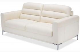 Mia Bella White Iceberg Leather Standard Sofa