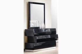 Milan Black Lacquer Dresser & Mirror