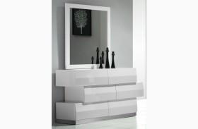 Milan White Lacquer Dresser & Mirror
