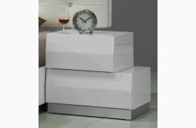 Milan White Lacquer RAF Nightstand