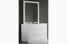 Naples White Lacquer Dresser & Mirror