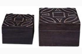 Marquise Antique Black Box Set of 2