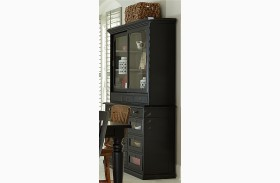 New Vintage Black Server With Hutch