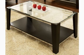 Newman Dark Espresso Glass Top Rectangular Cocktail Table