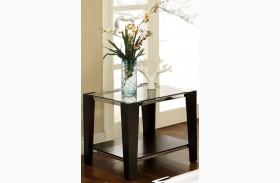 Newman Dark Espresso Glass Top Rectangular End Table