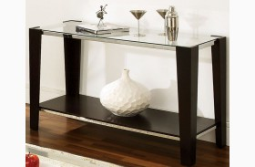Newman Dark Espresso Glass Top Rectangular Sofa Table