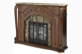 Oppulente Sienna Spice Marble Top Fireplace With Electric Fireplace Insert