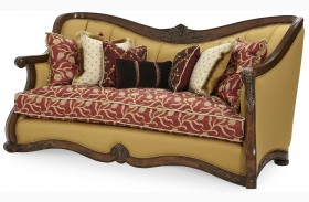 Oppulente Sienna Spice Wood Trim Channel Back Sofa