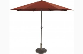 Umbrella Accessories Burnt Orange Large Auto Tilt Umbrella with Taupe Umbrella Base