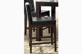 Athena Dark Chocolate Upholstered Counter Chair Set of 2