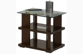 Delfino Burnished Cherry Rectangular End Table