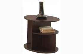 Metropolian Dark Cherry & Birch Oval End Table