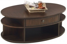 Metropolian Dark Cherry & Birch Oval Lift-Top Cocktail Table