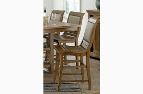 Willow Distressed Pine Upholstered Counter Chair Set of 2