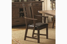 Padima Rustic Leather Dining Arm Chair Set of 2