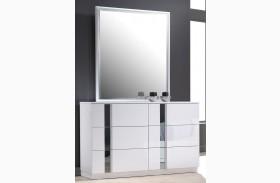 Palermo White Lacquer Dresser & Mirror