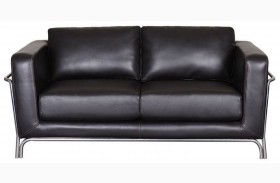 Perch Black Leather Loveseat