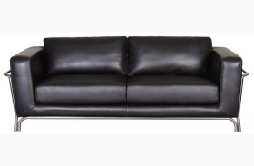 Perch Black Leather Sofa