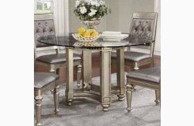 Danette Metallic Platinum Round Dining Table