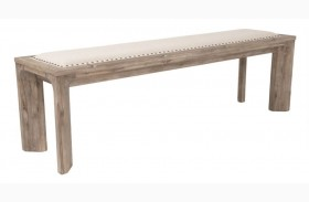 Rivet Gray Wash Upholstered Dining Bench