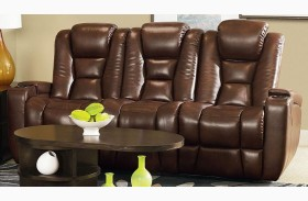 Evolution Jamestown Brown Fabric Power Reclining Sofa