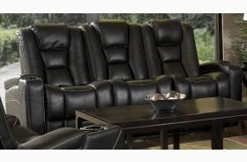 Evolution Black Leathaire Fabric Power Reclining Sofa