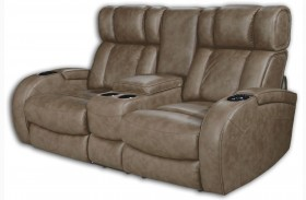 Andromeda Taupe Leather Gel Power Reclining Loveseat