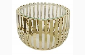 Roza Glass Top Champagne End Table