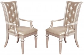 Dynasty Gold Metallic Arm Chair Set of 2