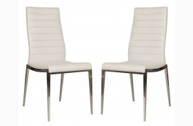 Ritz Shine White Synthetic Leather Dining Chair Set of 2