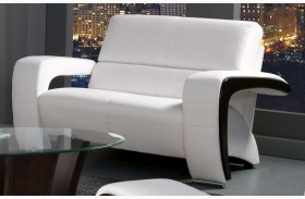 Enez White Leatherette Loveseat
