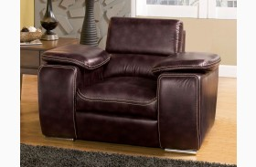 Dinar Brown Bonded Leather Chair