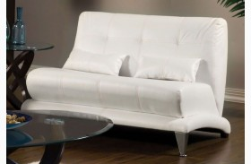 Artem White Leatherette Loveseat