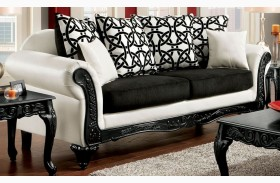 Dolphy Black and White Leatherette Sofa