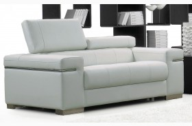 Soho White Leather Loveseat